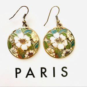 ⚡️Flower Enamel Brass Round Drop Earrings ⚡️3/$20